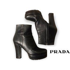 PRADA Black ITALIAN Nappa Leather Zip Ankle Booties Stacked Heel 🍂